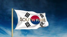 Estilo do slider da bandeira de Coreia do Sul com título acenar ilustração do vetor