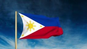 Estilo do slider da bandeira de Filipinas Ondulação no vento video estoque