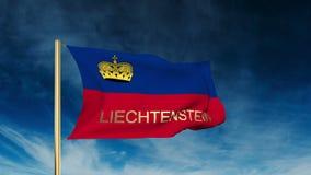 Estilo do slider da bandeira de Liechtenstein com título acenar ilustração royalty free