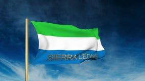 Estilo do slider da bandeira de Serra Leoa com título acenar ilustração do vetor