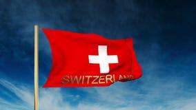 Estilo do slider da bandeira de Suíça com título acenar ilustração do vetor