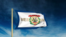 Estilo do slider da bandeira de West Virginia com título acenar ilustração stock