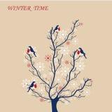 Estilo do vintage da árvore do inverno Foto de Stock