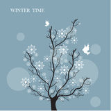 Estilo do vintage da árvore do inverno Fotos de Stock Royalty Free