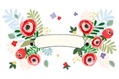 Estilo do vintage da cor pastel da bandeira das fitas da flor Ilustração do vetor verão, floresta da mola e plantas de jardim Imagem de Stock Royalty Free