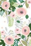 Estilo do vintage da cor pastel da bandeira do fundo da flor Ilustração do vetor verão, floresta da mola e plantas de jardim Imagens de Stock Royalty Free