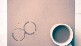 Estilo do vintage da mancha do copo de café Fotos de Stock