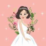 Estilo do vintage da senhora e da flor ilustração royalty free