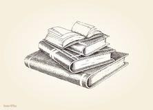 Estilo do vintage do desenho da mão da pilha de livros Imagens de Stock