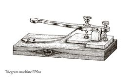 Estilo do vintage do desenho da mão do telégrafo Fotografia de Stock