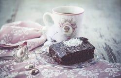 Estilo do vintage do bolo da brownie Imagens de Stock