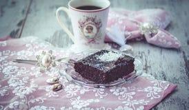 Estilo do vintage do bolo e do coffe Imagens de Stock