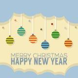Estilo do vintage do cartão do ano novo feliz Imagens de Stock Royalty Free