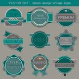 Estilo do vintage do projeto das etiquetas do grupo do vetor Fotografia de Stock