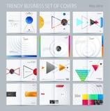 Estilo a doble página abstracto del diseño del folleto con los triángulos coloridos para calificar Costado de la presentación del ilustración del vector