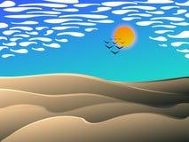 Estilo dos desenhos animados da paisagem do meio-dia do deserto ilustração do vetor
