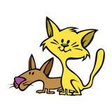 Estilo dos desenhos animados de um gato do divertimento e de melhores amigos de um cão Foto de Stock