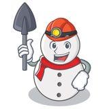 Estilo dos desenhos animados do caráter do boneco de neve do mineiro ilustração do vetor