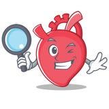 Estilo dos desenhos animados do caráter do coração do detetive ilustração stock