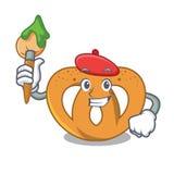 Estilo dos desenhos animados do caráter do pretzel do artista ilustração royalty free