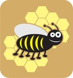 Estilo dulce de la historieta de la abeja de la miel de las abejas de la abeja stock de ilustración