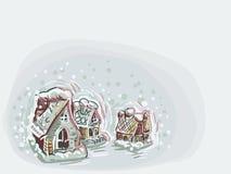 Estilo en colores pastel de la pintura de la casa del vector de tarjeta de Navidad del color de fondo suave azul casero libre illustration