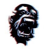 Estilo enojado del anáglifo de la cara 3D del mono Imagen de archivo