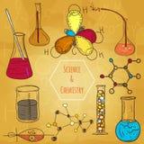 Estilo esboçado do fundo do vetor do laboratório de química da ciência Imagens de Stock