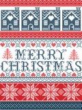Estilo escandinavo da tela do Feliz Natal sem emenda, inspirado pelo Natal norueguês, teste padrão festivo do inverno no ponto tr Fotografia de Stock Royalty Free
