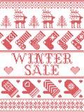 Estilo escandinavo de la venta inconsútil del invierno, inspirado por la Navidad noruega, modelo festivo del invierno en puntada  Imagen de archivo libre de regalías