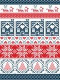 Estilo escandinavo sem emenda de matéria têxtil, inspirado pelo Natal norueguês, teste padrão sem emenda do inverno festivo no po Imagem de Stock Royalty Free