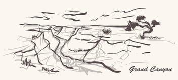 Estilo exhausto de la mano del Gran Cañón Ejemplo del bosquejo de Arizona ilustración del vector
