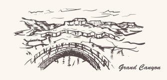 Estilo exhausto de la mano del Gran Cañón Ejemplo del bosquejo de Arizona stock de ilustración