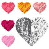 Estilo exhausto del corazón de la mano y del grunge del corazón en el fondo blanco stock de ilustración