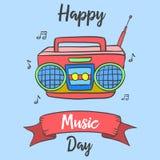 Estilo feliz de la tarjeta de la celebración del día de la música stock de ilustración