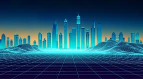 Estilo futurista de los años 80 del paisaje del fondo retro Ciudad futurista del rascacielos Superficie cibernética del paisaje d stock de ilustración