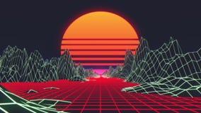 Estilo futurista retro do fundo 80s ilustração stock