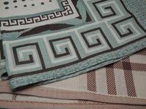 Estilo geométrico do fundo do algodão do material de matéria têxtil Fotografia de Stock