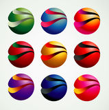 estilo gráfico dos objetos do símbolo da bola 3D, o colorido e o moderno foto de stock