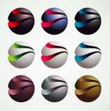 estilo gráfico dos objetos do símbolo da bola 3D, o luxuoso e o moderno imagens de stock royalty free