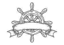 Estilo grabado ejemplo dibujado mano del vector del timón Garabato náutico del vintage retro Fotos de archivo libres de regalías