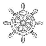 Estilo grabado ejemplo dibujado mano del vector del timón Garabato náutico del vintage retro Imágenes de archivo libres de regalías