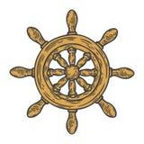 Estilo grabado ejemplo dibujado mano del vector del timón Garabato náutico del vintage retro Foto de archivo libre de regalías