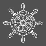 Estilo grabado ejemplo dibujado mano del vector del timón Garabato náutico del vintage retro Fotografía de archivo