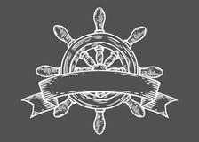 Estilo gravado ilustração tirado mão do vetor do leme Garatuja náutica do vintage retro Fotografia de Stock