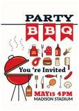Estilo grelhado do ícone do partido do BBQ Fotos de Stock