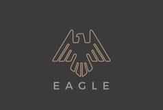 Estilo heráldico luxuoso linear do molde do vetor do projeto do logotipo do voo de Eagle Bird Ícone crescente do Logotype do esbo Imagens de Stock