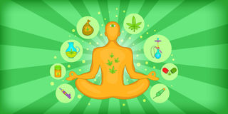 Estilo horizontal de la historieta de la bandera del cáñamo de la marijuana ilustración del vector