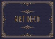 Estilo horizontal del art déco de la plantilla de la tarjeta de la invitación de la boda con color oro del marco stock de ilustración