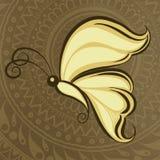 Estilo indiano do mehandi do clipart da borboleta fotografia de stock